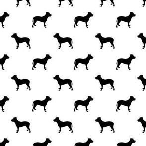 pitbull silhouette fabric dog dogs fabric - white and black