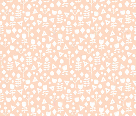 geo florals // blush and white geometric flowers design fabric by andrea_lauren on Spoonflower - custom fabric