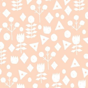 geo florals // blush and white geometric flowers design