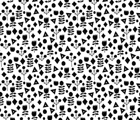 geo florals // black and white geometric flowers pattern fabric by andrea_lauren on Spoonflower - custom fabric