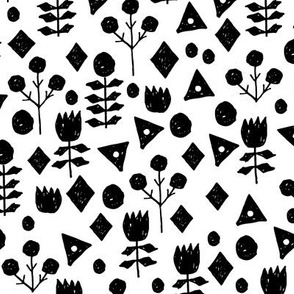 geo florals // black and white geometric flowers pattern