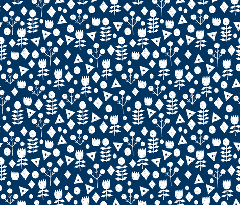 geo florals // navy and white geometric floral pattern fabric by andrea_lauren on Spoonflower - custom fabric