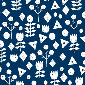 geo florals // navy and white geometric floral pattern