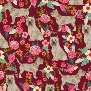 cairn terrier dog fabric floral dog design ruby red
