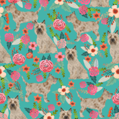 cairn terrier dog fabric floral dog design turquoise