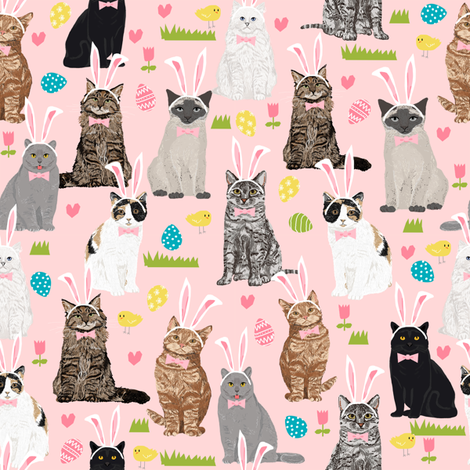 cats kitty cat pastel easter bunny cute pink easter eggs design fabric by petfriendly on Spoonflower - custom fabric