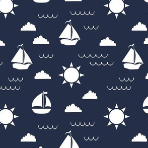Sailboat Bay // Navy Blue
