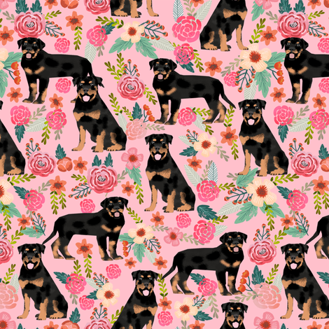 rottweiler floral dog fabric rottweilers dog design fabric by petfriendly on Spoonflower - custom fabric