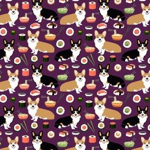 corgis sushi and noodles fabric cute food design noodle pot sushi corgis tri colored corgi fabric
