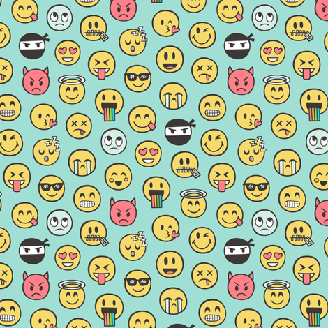 Smiley Emoticon Emoji Doodle on Mint Green Tiny Small fabric by caja_design on Spoonflower - custom fabric