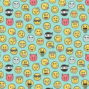Smiley Emoticon Emoji Doodle on Mint Green Tiny Small