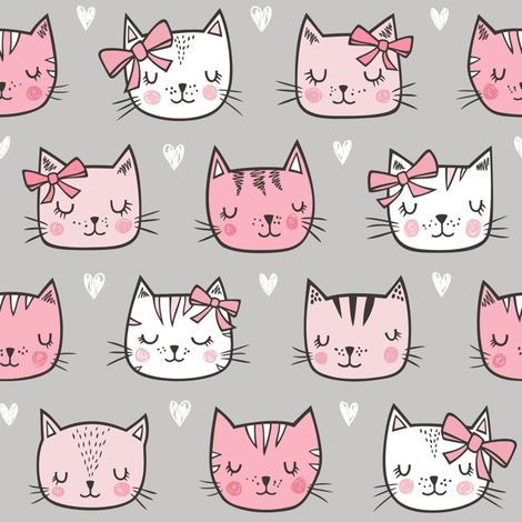 Pink Cat Cats  Faces with Bows and Hearts on Grey fabric by caja_design on Spoonflower - custom fabric