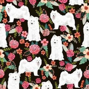 samoyed dogs fabric floral dog design