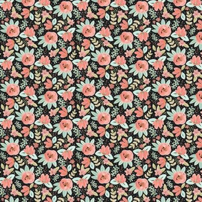Tiny Pink Floral on Black