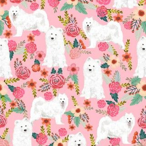 samoyed dogs fabric floral dog design