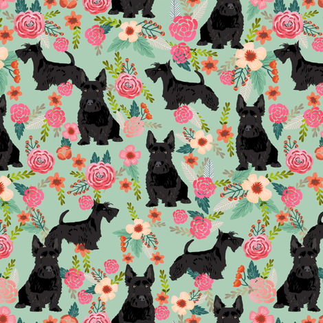 scottie dog florals fabric scottish terrier dog fabric fabric by petfriendly on Spoonflower - custom fabric