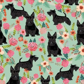 scottie dog florals fabric scottish terrier dog fabric