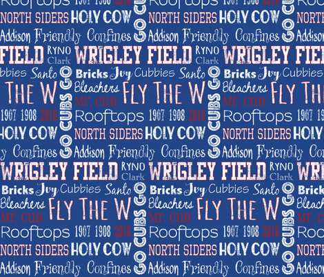 Chicago Cubs Words fabric by goldengirl96 on Spoonflower - custom fabric