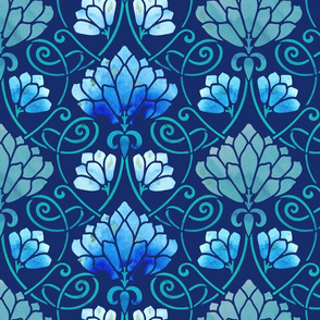 Art Nouveau Lotus in Navy Watercolor