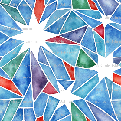 Stained Glass Star Watercolor - Multicolor