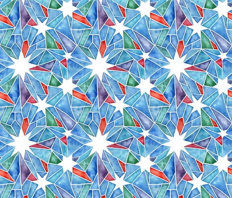 Stained Glass Star Watercolor - Multicolor fabric by theplumgrove on Spoonflower - custom fabric