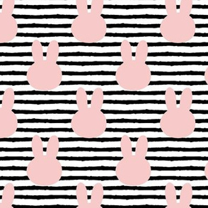 bunny on stripes || rose quartz