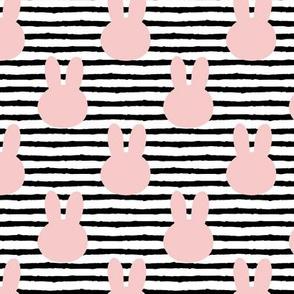 bunny on stripes || rose quartz