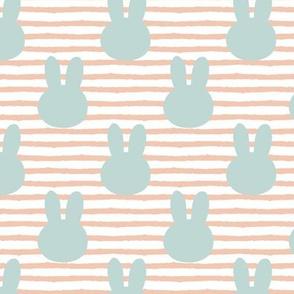 bunny on stripes || peach