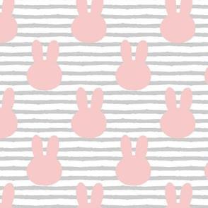 bunny on stripes || grey stripes