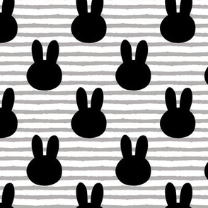 bunny on stripes || monochrome