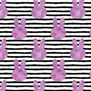 bunny on stripes || watercolor purple