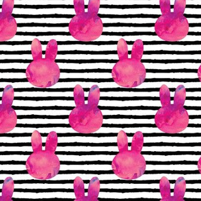 bunny on stripes || watercolor dark pink