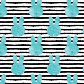 bunny on stripes || watercolor blues