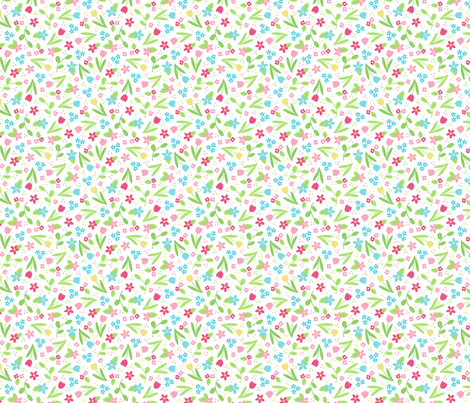 Ditsy Spring Flowers on White fabric by hazel_fisher_creations on Spoonflower - custom fabric