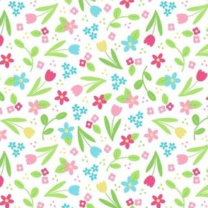 Ditsy Spring Flowers on White