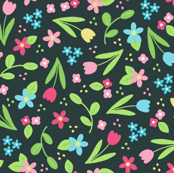 Ditsy Spring Flowers on Dark Grey