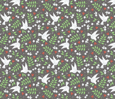 Doves, Jasmine and Hearts on dark grey fabric by hazel_fisher_creations on Spoonflower - custom fabric