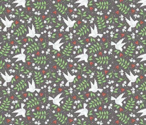 Doves, Jasmine and Hearts on dark grey fabric by hazel_fisher_creations on Spoonflower - custom fabric