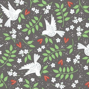 Doves, Jasmine and Hearts on dark grey