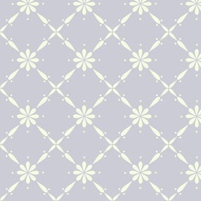 Charlottes Farmhouse Diamond Floral in Dove Grey