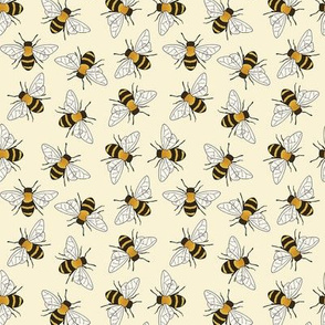 Busy Bees - on pale yellow