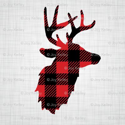 "8"" Quilt Block - Deer in buffalo plaid"