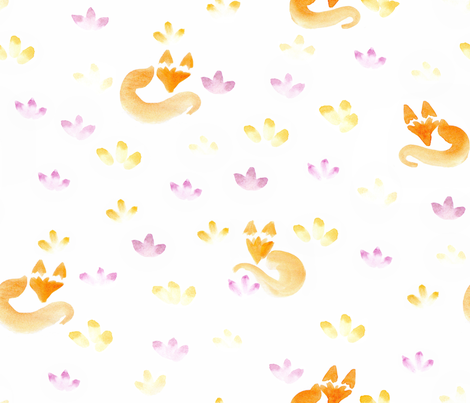Aquarella_fox fabric by un_temps_de_coton on Spoonflower - custom fabric