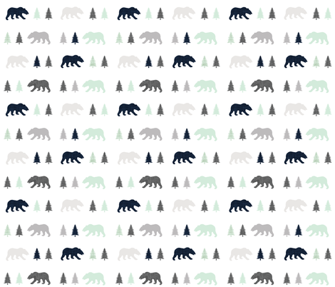 into the wild bear trot fabric by ivieclothco on Spoonflower - custom fabric