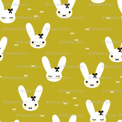 Cute spring bunny love sweet bow and kawaii eye lashes mustard yellow
