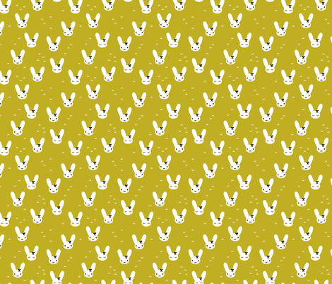 Cute spring bunny love sweet bow and kawaii eye lashes mustard yellow fabric by littlesmilemakers on Spoonflower - custom fabric