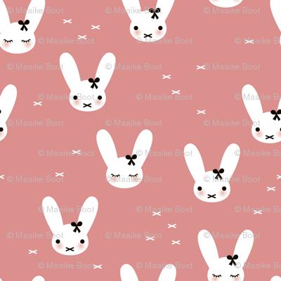 Cute spring bunny love sweet bow and kawaii eye lashes pink