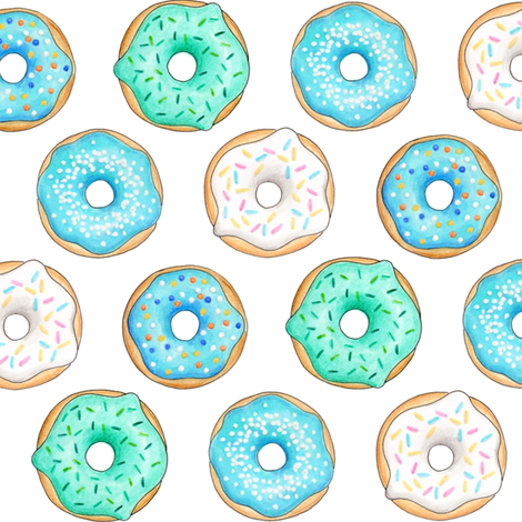 Iced Donuts - Blue 2 inch donuts fabric by hazelfishercreations on Spoonflower - custom fabric
