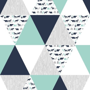 woodland camping triangle cheater quilt navy mint and grey