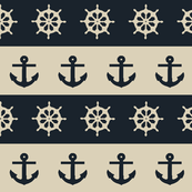Ship Wheels & Anchors  // Khaki & Dark Navy